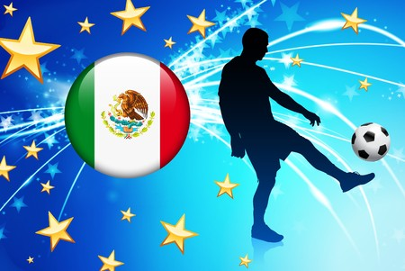 Mexico Soccer Player on Abstract Light Background Original Illustration illustration