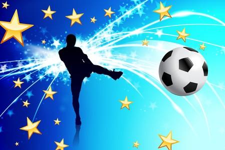 Soccer Player on Abstract Blue Light Background Original Illustration illustration