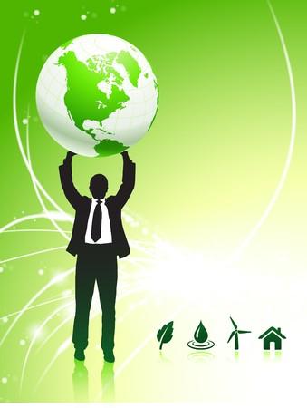 Businessman Holding up Globe on Internet Background Original Illustration illustration