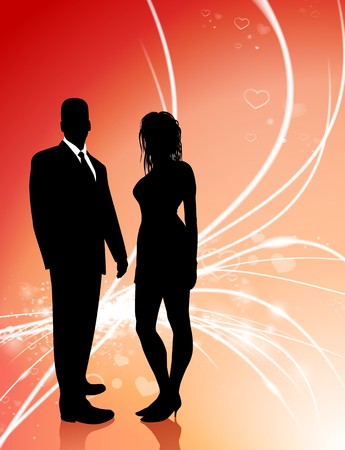 sexy young couple: Sexy Young Couple on Abstract Valentines Day Light Background Original Illustration