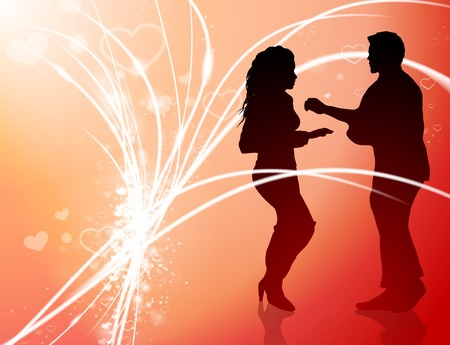romance: Sexy Young Couple on Abstract Valentines Day Light Background Original Illustration