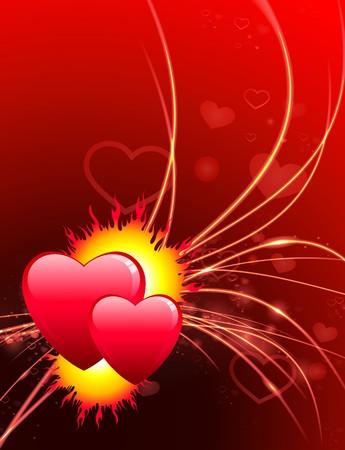 Valentines Day Hearts on Abstract Light Background Original Illustration illustration
