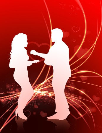 Sexy Young Couple on Abstract Valentines Day Light Background Original Illustration illustration