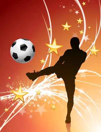 abstract: Soccer Player on Abstract Light Background Original Illustration
