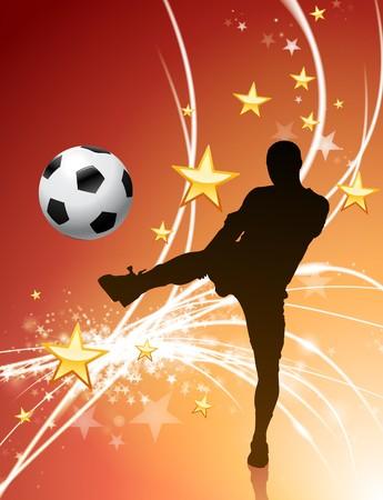 Voet bal speler op Abstract Light Background Originele illustratie