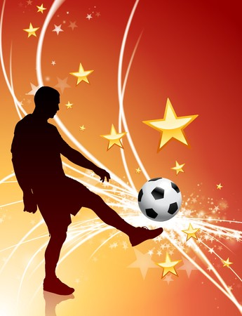 Soccer Player on Abstract Light Background Original Illustration