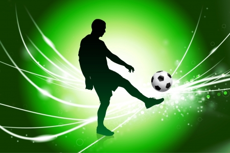 Soccer Player on Abstract Green Light Background Original Illustration illustration