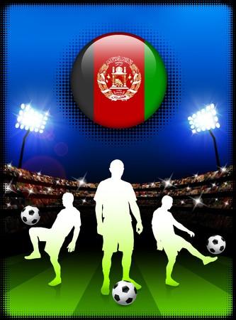 Afghanistan Flag Button with Soccer Match in Stadium Original Illustration illustration