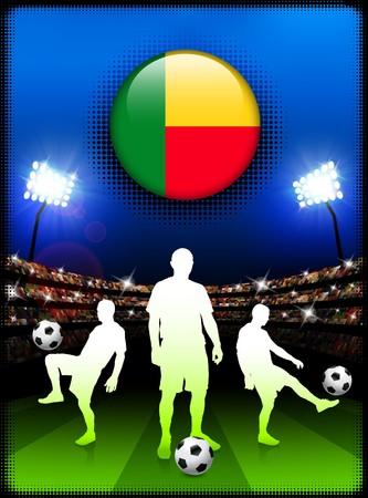Benin Flag Button with Soccer Match in StadiumOriginal Illustration Stock Illustration - 7078921