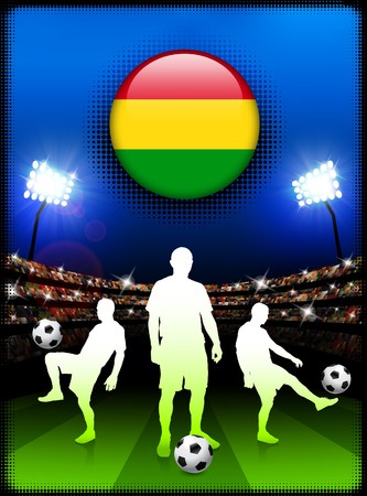 bandera de bolivia: Bot�n de bandera de Bolivia con el partido de f�tbol en el estadio Ilustraci�n original
