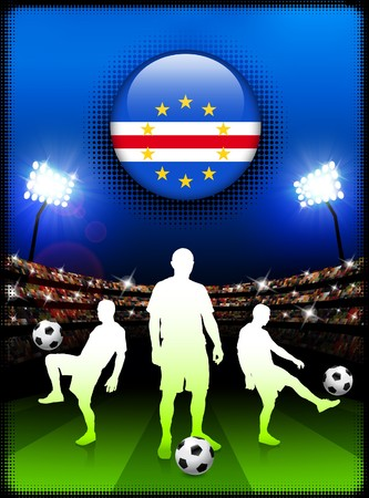 cape verde: Cape Verde Flag Button with Soccer Match in Stadium Original Illustration
