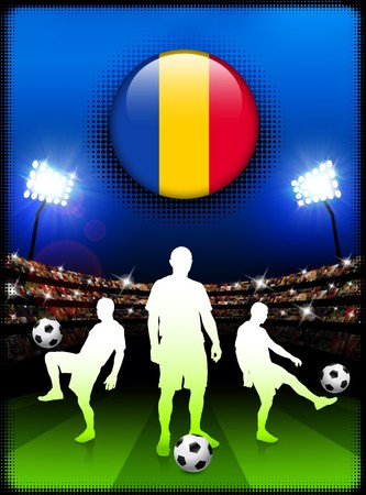 chad: Chad Flag Button with Soccer Match in Stadium Original Illustration Stock Photo