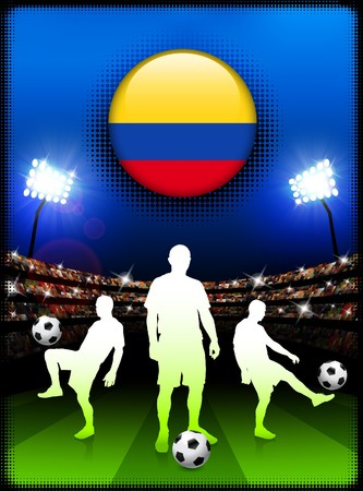 Colombia Flag Button with Soccer Match in Stadium Original Illustration illustration