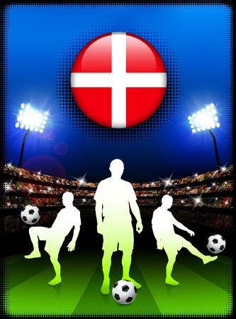 Denmark Flag Button with Soccer Match in Stadium Original Illustration