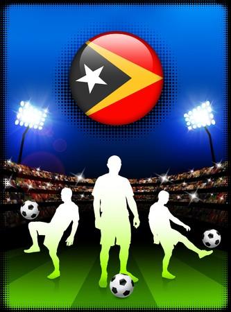 East Timor Flag Button with Soccer Match in Stadium Original Illustration illustration