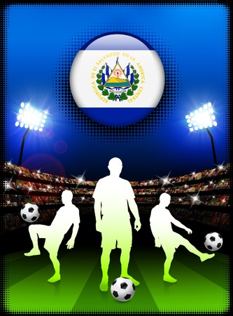 soccer stadium: El Salvador Flag Button with Soccer Match in Stadium Original Illustration