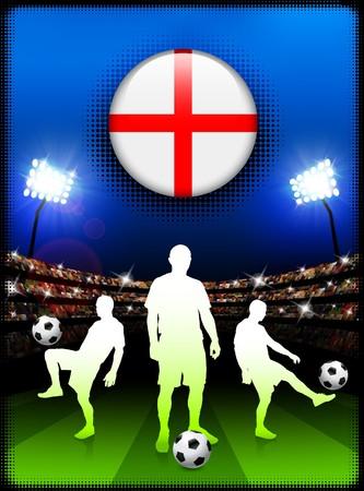 England Flag Button with Soccer Match in Stadium Original Illustration illustration