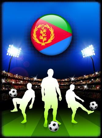 Eritrea Flag Button with Soccer Match in Stadium Original Illustration Stock Photo