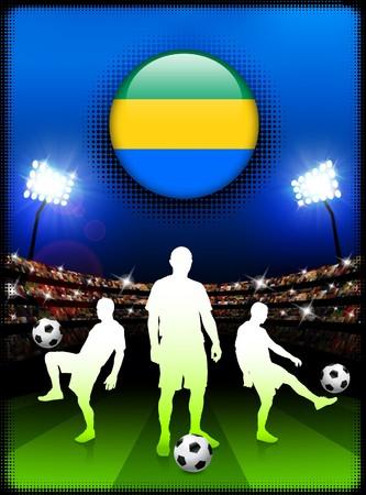 Gabon Flag Button with Soccer Match in StadiumOriginal Illustration Stock Illustration - 7079015