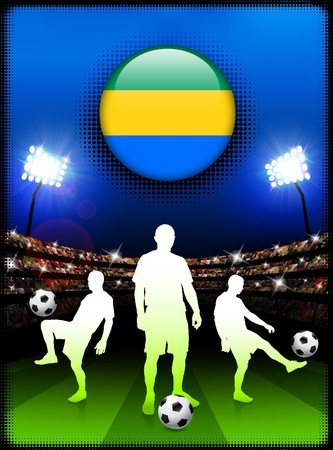 Gabon Flag Button with Soccer Match in Stadium
