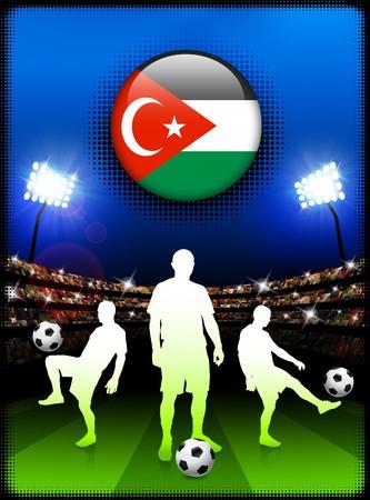 gaza: Gaza Flag Button with Soccer Match in Stadium Original Illustration