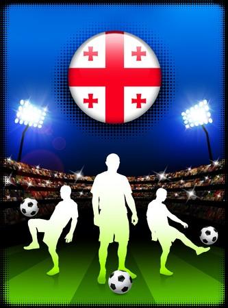 Georgia Flag Button with Soccer Match in Stadium Original Illustration illustration