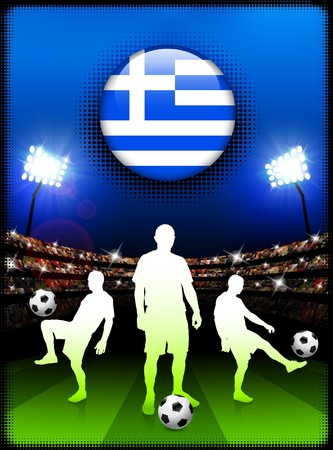 Greece Flag Button with Soccer Match in Stadium Original Illustration