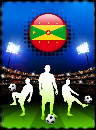 Grenada Flag Button with Soccer Match in Stadium Original Illustration illustration