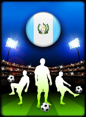 guatemala: Guatemala Flag Button with Soccer Match in Stadium Original Illustration