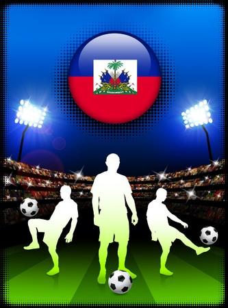 Haiti Flag Button with Soccer Match in Stadium Original Illustration illustration