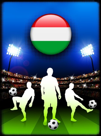 Hungary Flag Button with Soccer Match in Stadium Original Illustration