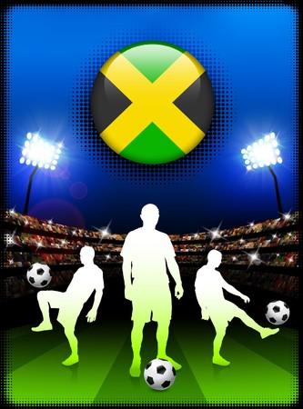 Jamaica Flag Button with Soccer Match in Stadium Original Illustration illustration