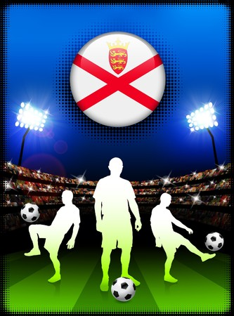jersey: Jersey Flag Button with Soccer Match in Stadium Original Illustration