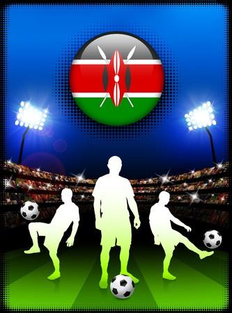 Kenya Flag Button with Soccer Match in Stadium Original Illustration illustration