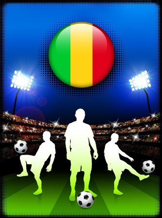 Mali Flag Button with Soccer Match in Stadium Original Illustration illustration
