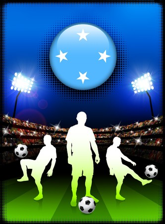 Micronesia Flag Button with Soccer Match in Stadium Original Illustration