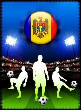 Moldova Flag Button with Soccer Match in Stadium Original Illustration
