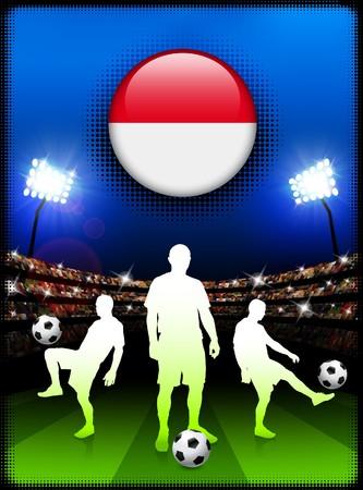 Monaco Flag Button with Soccer Match in Stadium Original Illustration
