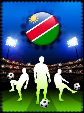 Namibia Flag Button with Soccer Match in Stadium Original Illustration illustration