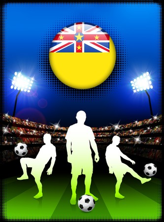 niue: Niue Flag Button with Soccer Match in Stadium Original Illustration Stock Photo