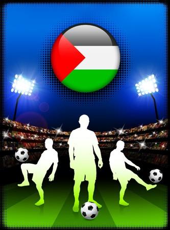 Palestine Flag Button with Soccer Match in Stadium Original Illustration illustration