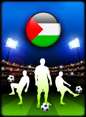 Palestine Flag Button with Soccer Match in Stadium