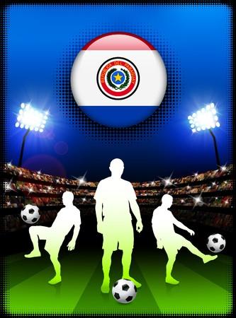 bandera de paraguay: Bot�n de bandera de Paraguay con el partido de f�tbol en el estadio Ilustraci�n original  Foto de archivo