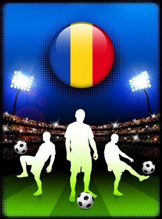 Romania Flag Button with Soccer Match in StadiumOriginal Illustration 스톡 콘텐츠