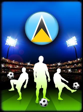 Saint Lucia Flag Button with Soccer Match in Stadium Original Illustration Stock Photo
