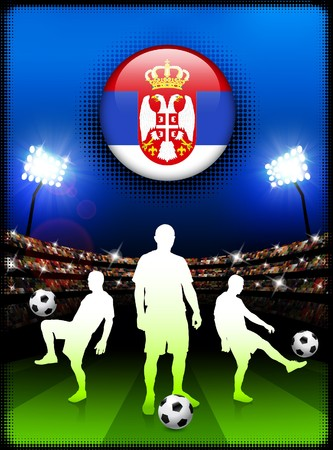 serbia: Serbia Flag Button with Soccer Match in Stadium Original Illustration
