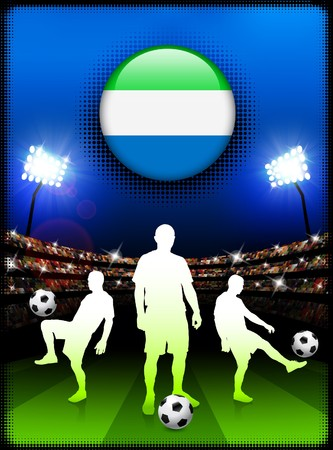 Sierra Leone Flag Button with Soccer Match in Stadium Original Illustration illustration