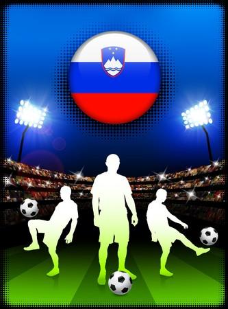 Slovenia Flag Button with Soccer Match in Stadium Original Illustration