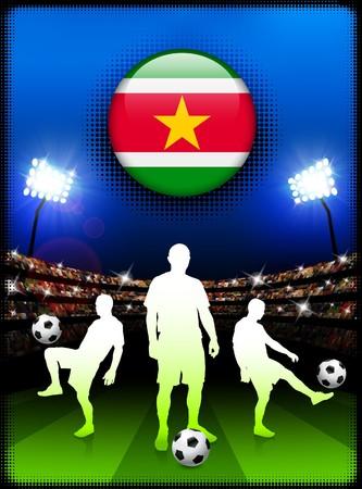 Suriname Flag Button with Soccer Match in Stadium Original Illustration