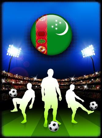 Turkmenistan Flag Button with Soccer Match in Stadium Original Illustration